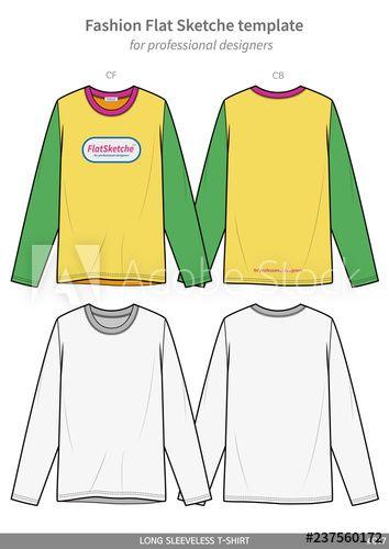 Download Long Sleeve Tee Shirts Fashion Flat Technical Drawing Template Tee Shirt Fashion Sweatshirt Fashion Long Sleeve Tee Shirts
