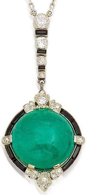 RosamariaGFrangini | HighJewellery Antique | An art deco emerald, onyx and diamond pendant, circa 1920.