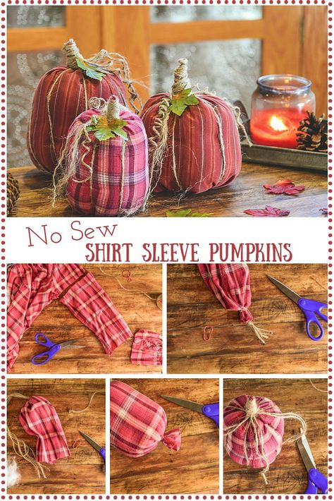 Sewing Craft Project Quick and easy No Sew Shirt Sleeve Pumpkins are an adorable fall decor you can DIY in about 30 minutes! Make a bunch and create a little pumpkin patch of no-sew shirt sleeve pumpkins! - No Sew Shirt Sleeve Pumpkins Fun Diy Crafts, Crafts To Make, No Sew Crafts, Easy Fall Crafts, Upcycled Crafts, Decor Crafts, Fall Pumpkin Crafts, Thanksgiving Crafts, Holiday Crafts