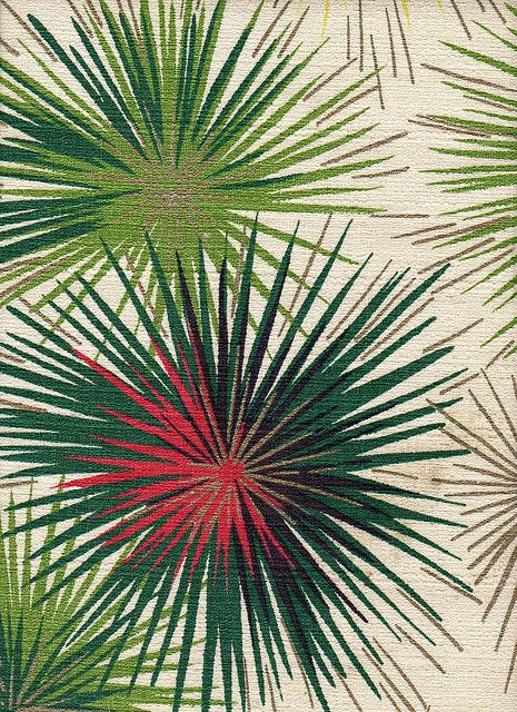 50s barkcloth drapes—  abstract pine shapes were a standard in mid-century design.