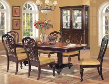 The Castle Dining Group By RiversEdge Features Crafted In Hardwood Solids  And Oak Veneers Accented In A Rich Brown Finish. | Pinterest | Brown  Finish, House ...
