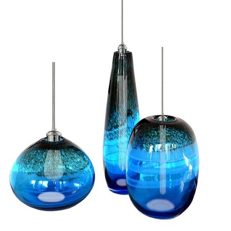 Modern Blown Blue Glass Shade Pendant Lighting 12016