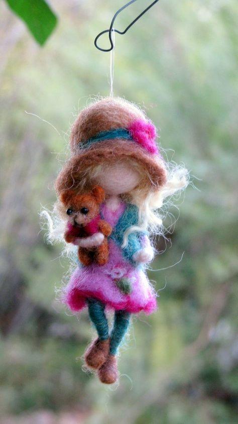 Christmas Needle felted ornament, Waldorf inspired doll, Winter Felt Tree decoration, Romantic gift