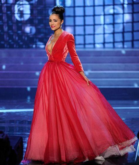 22b1fca70 Vestido de Miss USA - Rojo. Los 10 mejores vestidos de gala en el Miss  Universo 2012.