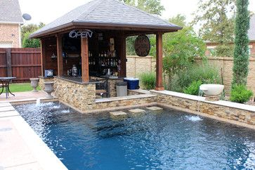 Pool Designs With Bar dry stack - custom swimming pool - north richland hills, tx