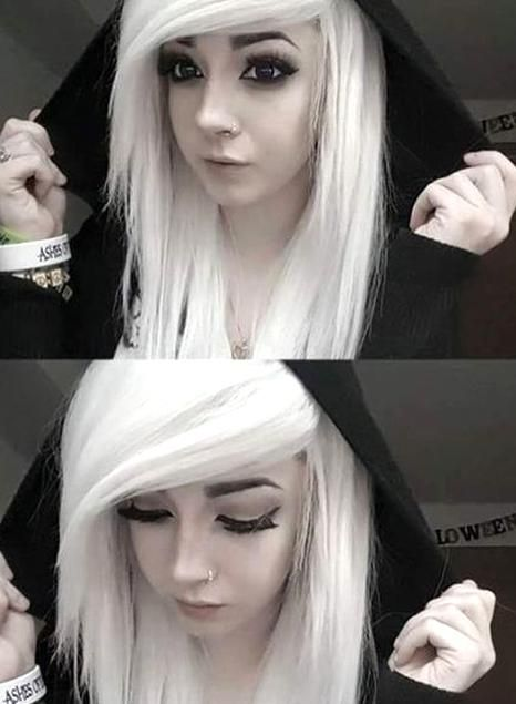 Emo Hairstyles White Emo Hair With Side Swept Bangs In 2020 Emo Hair Emo Haircuts Little Girl Hairstyles