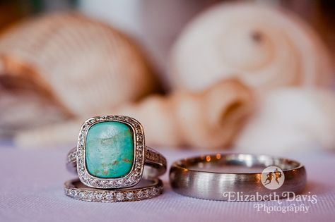 Details - unique engagement ring at beach wedding on St. George Island, Florida   Elizabeth Davis Photography - Click here to see all the other lovely beach wedding details: http://elizabethdavisphotoblog.com/doug-megans-wedding-photography-april-14/