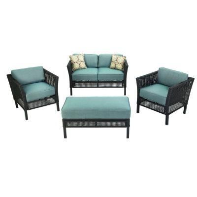 Hampton Bay Fenton 4-Piece Patio Seating Set with Peacock and Java Cushions