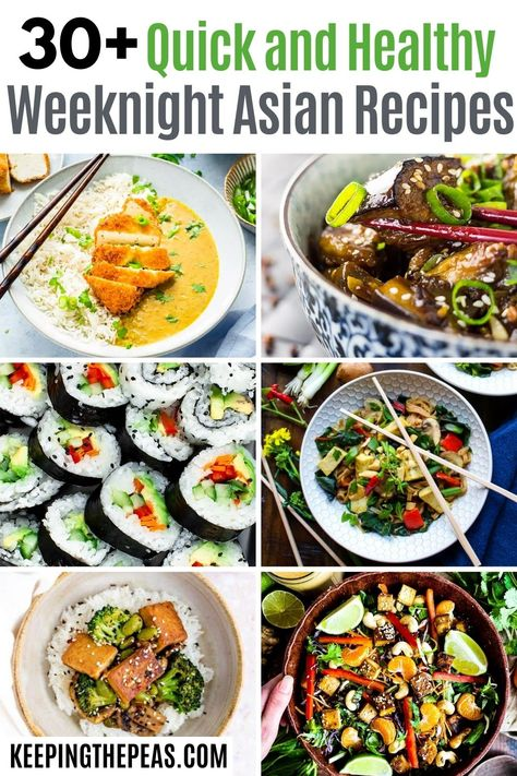 These 30+ weeknight Asian recipes are SO good, yet healthy and easy to make at home! You'll find your favorite Chinese, Korean, Thai, and Japanese recipes, as well as some tips and tricks to make cooking authentic Asian cuisine at home without any fuss! They're vegan, vegetarian, and most are also gluten-free!