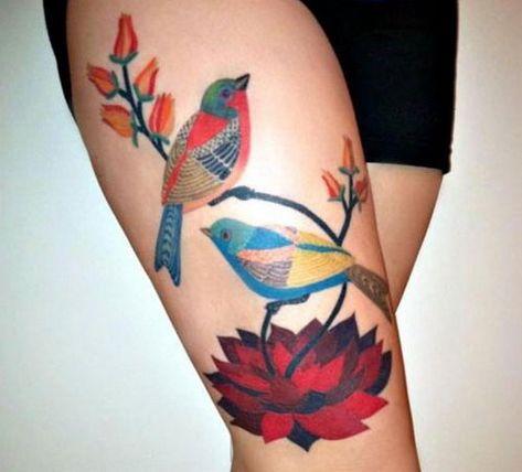 Summer Theme Thigh Tattoo ~ http://tattooeve.com/choosing-the-right-thigh-tattoo-design/ Tattoo Design