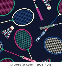 Retro Colorful Badminton Racket And Shuttlecock Seamless Pattern Background Wallpaper Badminton Badminton Racket Shuttlecocks