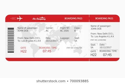 Airplane Ticket Boarding Pass Ticket Template Vector Airplane Tickets Boarding Pass Template Boarding Pass