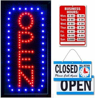 Ebay Ad Link Ultima Led Neon Open Sign For Business Vertical Lighted Sign Open In 2020 Business Signs Neon Open Sign Light Up Signs