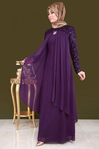 Broslu Sifon Tesettur Abiye Alm3012 Mor Dengan Gambar Model Pakaian Model Pakaian Hijab Pakaian Wanita
