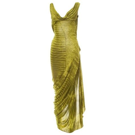 View this item and discover similar for sale at - John Galliano Bias Cut green alligator print evening dress. Runway Fashion Outfits, Couture Fashion, Fashion Beauty, Bcbg, Fairy Dress, Event Dresses, John Galliano, Elegant Outfit, Mode Inspiration