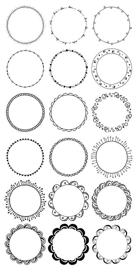 Photo of Round frames clipart. Hand drawn circles clipart. Floral, boho, tribal doodle clip art. Waves, leave