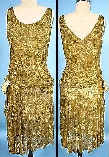1926 YVONNE, Paris Gold Beaded Cotton Net Flapper Dress! Handmade in France