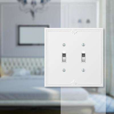 Amerelle Richmond 2 Gang Toggle Composite Wall Plate White 38ttw The Home Depot Plates On Wall Electrical Box Cover Stylish Decor