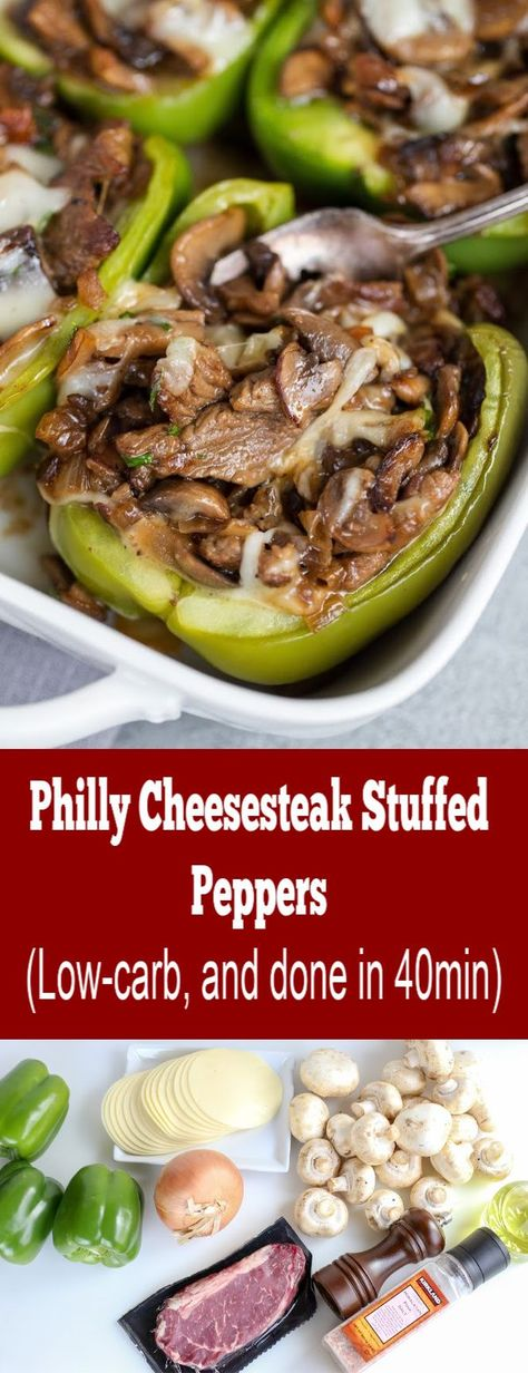 A low carb dinner, that is done in 40min. Easy, healthy and quick is there a better combination?! #momsdish #easyrecipe #quickrecipe #lowcarb #stuffedpeppers #healthyfood #dinnerideas #lunchideas #healthy #phillycheesesteak