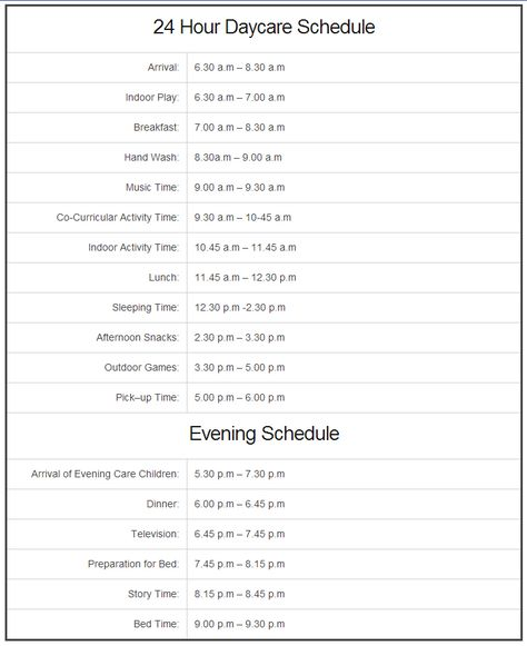 24 Hour Daycare Schedule http://www.24hourdaycarecentral.com/