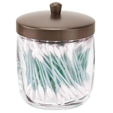Mdesign Glass Bamboo Bathroom Vanity Storage Canister Jar Clear