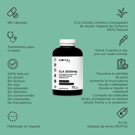 🌿 Aquí te dejamos un resumen de la información de nuestro producto CLA ÁCIDO LINOLEICO CONJUGADO 3000 MG. 💭 Si tienes cualquier duda, aquí estamos para atenderte. ➡ Si te interesa el producto lo encontrarás en la sección PRODUCTOS dentro de nuestra web, www.hivital.com. #adelgazar #quemagrasa #energia #colesterol #corazon #antioxidante #acidolinoleicoconjugado #cartamo #acidograso #acidosgrasosesenciales #nutricion #estilodevidasaludable #fitoterapia #naturopatia #infografia #alimentacion