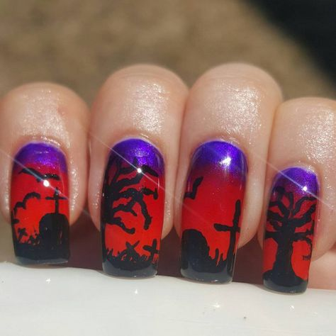 Rest in Purple and Red - Halloween Nails So Cool They'll Give You Chills - Photos