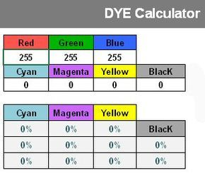 Dye Calculator To Convert Rgb Or Cmyk Colors To Dye Formulas