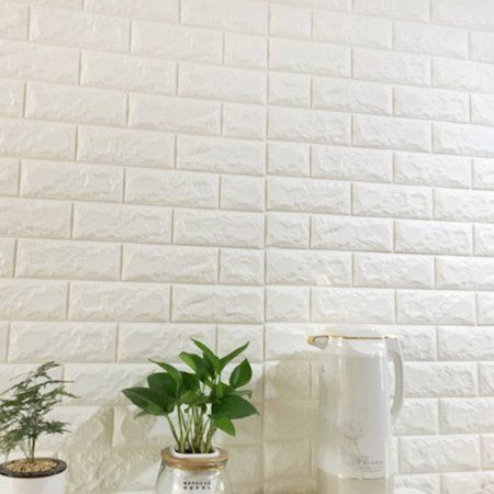 Peel And Stick 3d Wall Panels Pe Foam White Brick Wallpaper Set Of 8 46 Sq Ft Walmart Com White Brick Wallpaper Brick Wallpaper White Wall Paneling