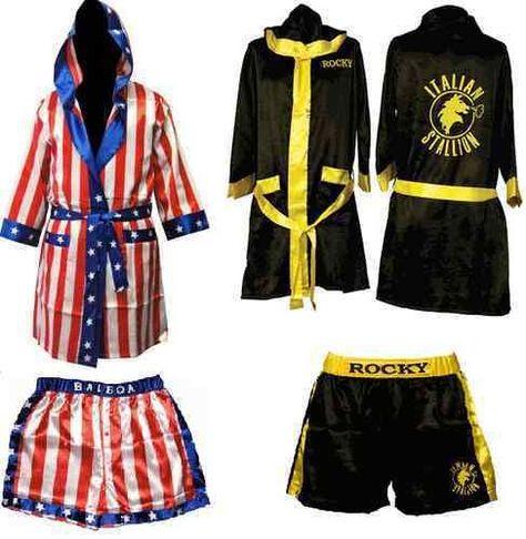 Rocky Balboa Movie Boxing Costume Robe And Shorts American Flag Italian Stallion