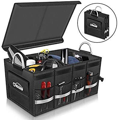 Foldable Van Storage Organiser Folding Car Black Boot Tidy Box Trunk Organizer 3 Compartment Bag for Minivan with Side Pockets Shopping Holder 3 Pack