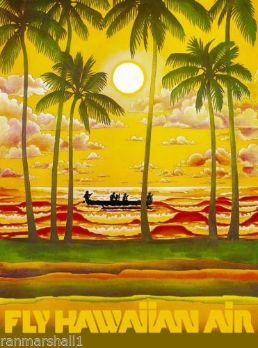 Travel Advertisement Poster 1930s Hawaii Hawaiian Island Mermaid Vintage U.S