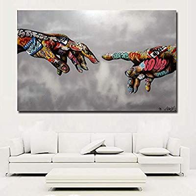 Framed Canvas print graffiti funny cow  abstract  Street Art  pop painting