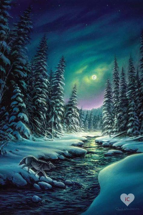 Winter Scene Paintings, Scenery Paintings, Wildlife Paintings, Wildlife Art, Winter Scenes To Paint, Christmas Paintings, Painting Snow, Winter Painting, Light Painting