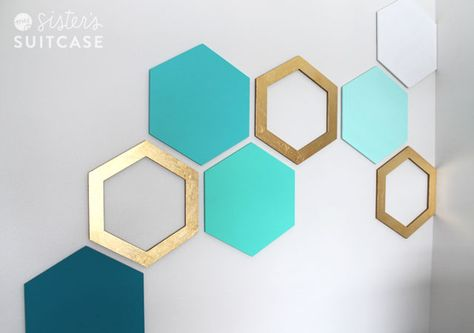 DIY Easy Hexagon Wall Treatment