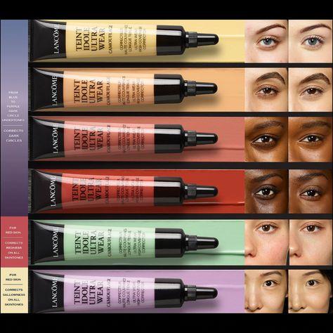 Shop Lancôme's Teint Idole Ultra Wear Camouflage Color Corrector at Sephora. An ultra-pigmented, full-coverage color corrector. Best Color Corrector, Corrector Makeup, Contour Makeup, Makeup Kit, Skin Makeup, Makeup Tricks, Maquillage Black, Color Correction Makeup, Makeup For Black Skin