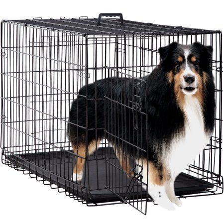 Bestpet Folding Wire Crate With Divider Black X Large 48 L Walmart Com Extra Large Dog Crate Dog Crate Dog Cages