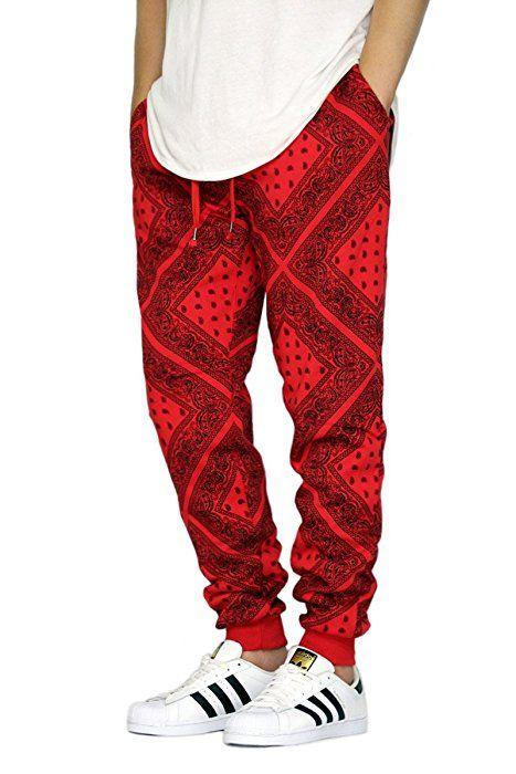 15aafc1b9 URBANJ MEN'S BANDANA FLEECE JOGGER PANTS S-3XL (M, Red) at Amazon Men's Clothing  store: