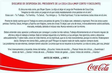 Discurso Despedida Gerente Cocacola Discurso De Despedida