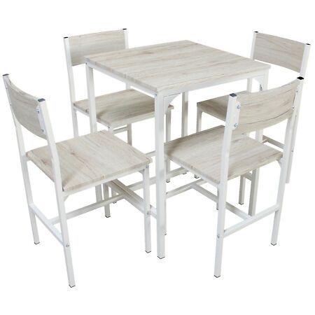 Tavolo Cucina Con 4 Sedie.Details About Bar Set Table And 4 Chairs Oak Beige Kitchen Table