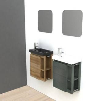 Meuble Lave Mains Avec Miroir Noir L 22 5 X P 40 X H 48 Cm Fairway Meuble Lave Main Lave Main Meuble Lave Main Wc