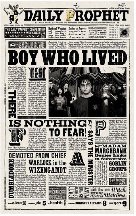 "Newspaper-Harry Potter–BOY WHO LIVED on Newsprint!-Artisan Made-1/"" Scale"