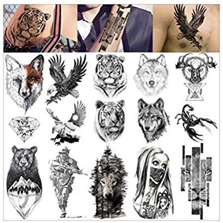 Amazon Com Wyuen 12 Pcs Lot Wolf Temporary Tattoo Sticker For Women Men Fashion Body Art Adults Waterproof Hand Fake Tato Fake Tatoos Tattoo Stickers Tattoos