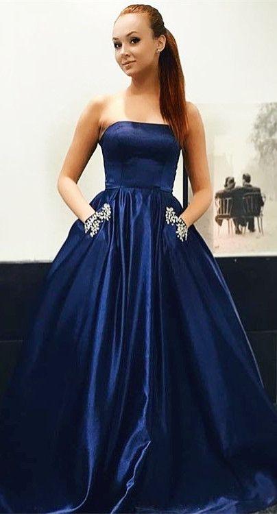 Princess Strapless Navy Blue Long Prom Dress With Pockets Prom Dresses Satin Prom Dress Ball Dresses
