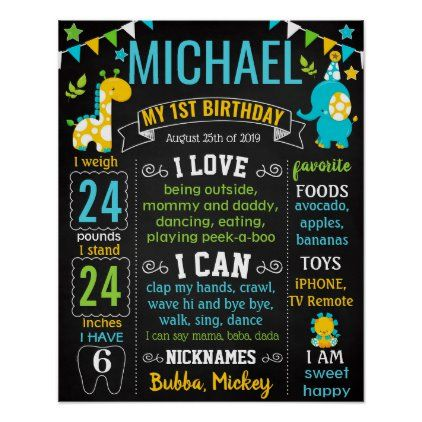 Jungle Zoo Safari Animals Wild One Birthday Poster Zazzle Com First Birthday Posters Birthday Chalkboard Birthday Chalkboard Sign