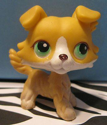 Littlest Pet Shop 272 Golden Yellow White Collie Puppy Dog Lps