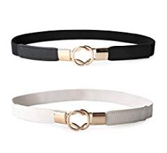 JASGOOD 2 Pack Women Retro Elastic Stretchy Metal Buckle