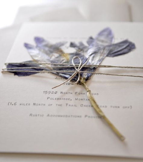 iris dried flower wedding invitation