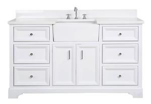 Zelda 60 Inch Single Farmhouse Vanity With Quartz Top In 2021 Vanity Freestanding Bathroom Cabinet White Farmhouse Sink