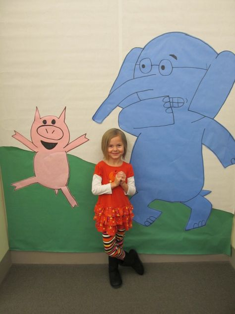 Elephant and Piggie ideas- this link seems to be expired, but I like the idea of using this as a backdrop for photos for reading week!